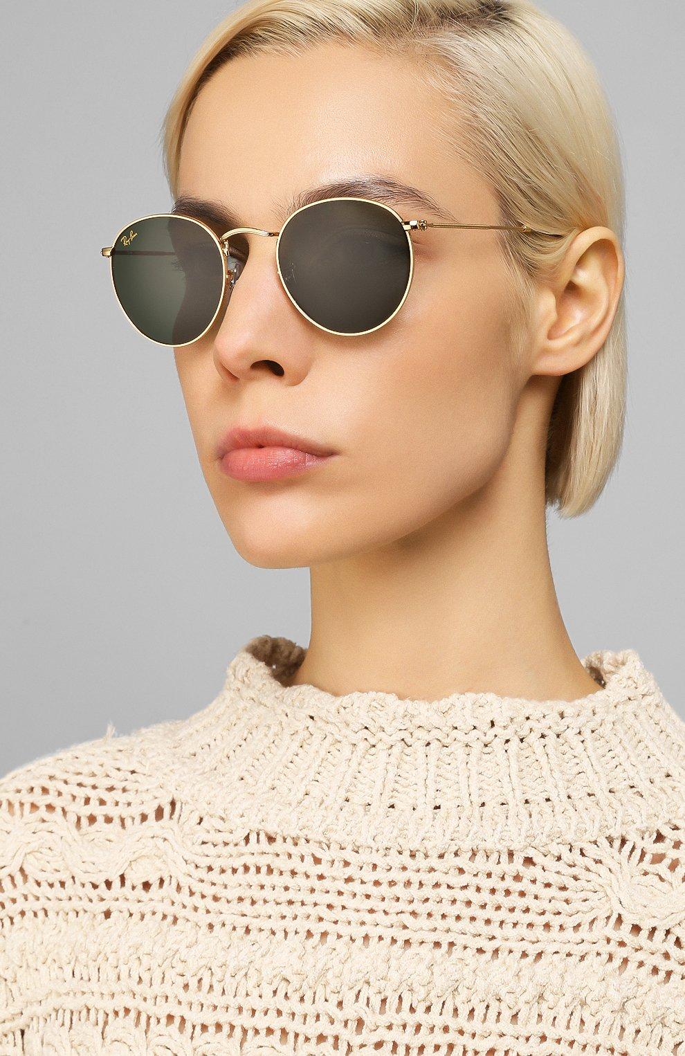 Женские солнцезащитные очки RAY-BAN золотого цвета, арт. 3447-919631 | Фото 2