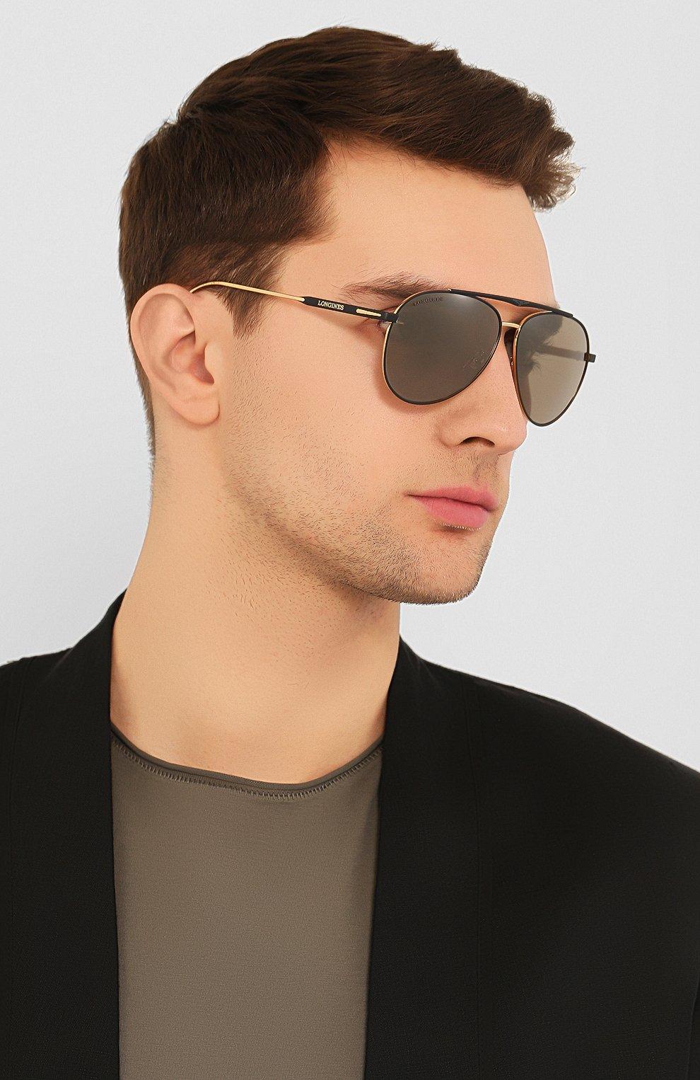 Мужские солнцезащитные очки LONGINES черного цвета, арт. LG0005-H 02L | Фото 2 (Тип очков: С/з; Очки форма: Авиаторы; Оптика Гендер: оптика-мужское)