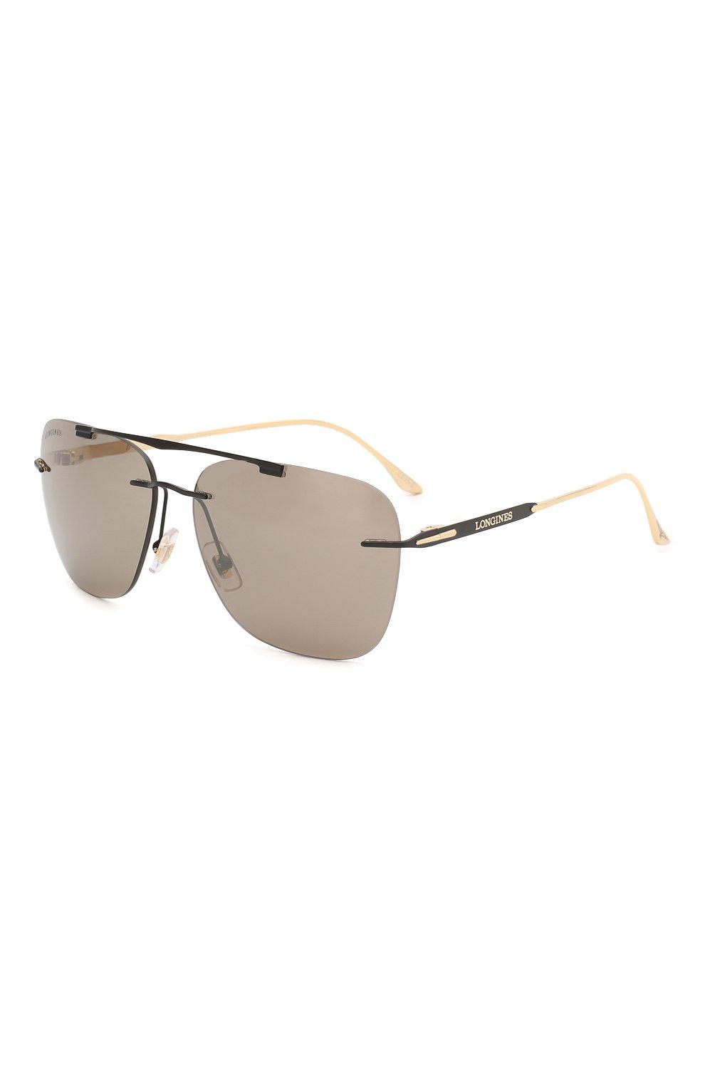 Мужские солнцезащитные очки LONGINES черного цвета, арт. LG0009-H 02L   Фото 1 (Тип очков: С/з; Очки форма: Прямоугольные; Оптика Гендер: оптика-мужское)