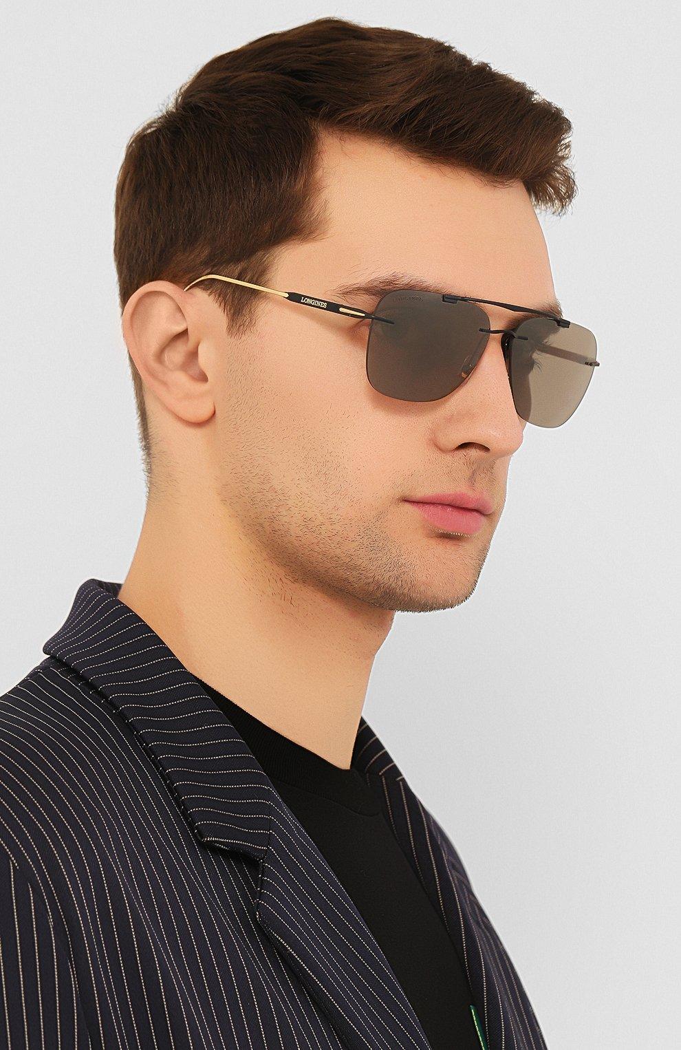 Мужские солнцезащитные очки LONGINES черного цвета, арт. LG0009-H 02L   Фото 2 (Тип очков: С/з; Очки форма: Прямоугольные; Оптика Гендер: оптика-мужское)