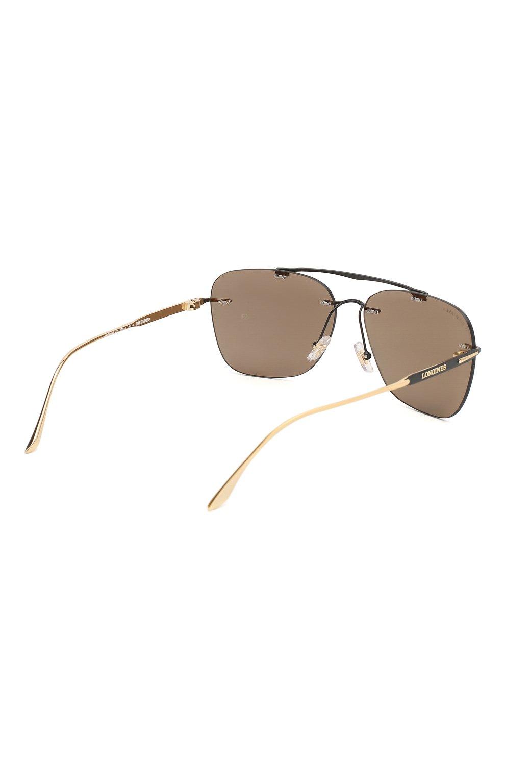 Мужские солнцезащитные очки LONGINES черного цвета, арт. LG0009-H 02L   Фото 4 (Тип очков: С/з; Очки форма: Прямоугольные; Оптика Гендер: оптика-мужское)