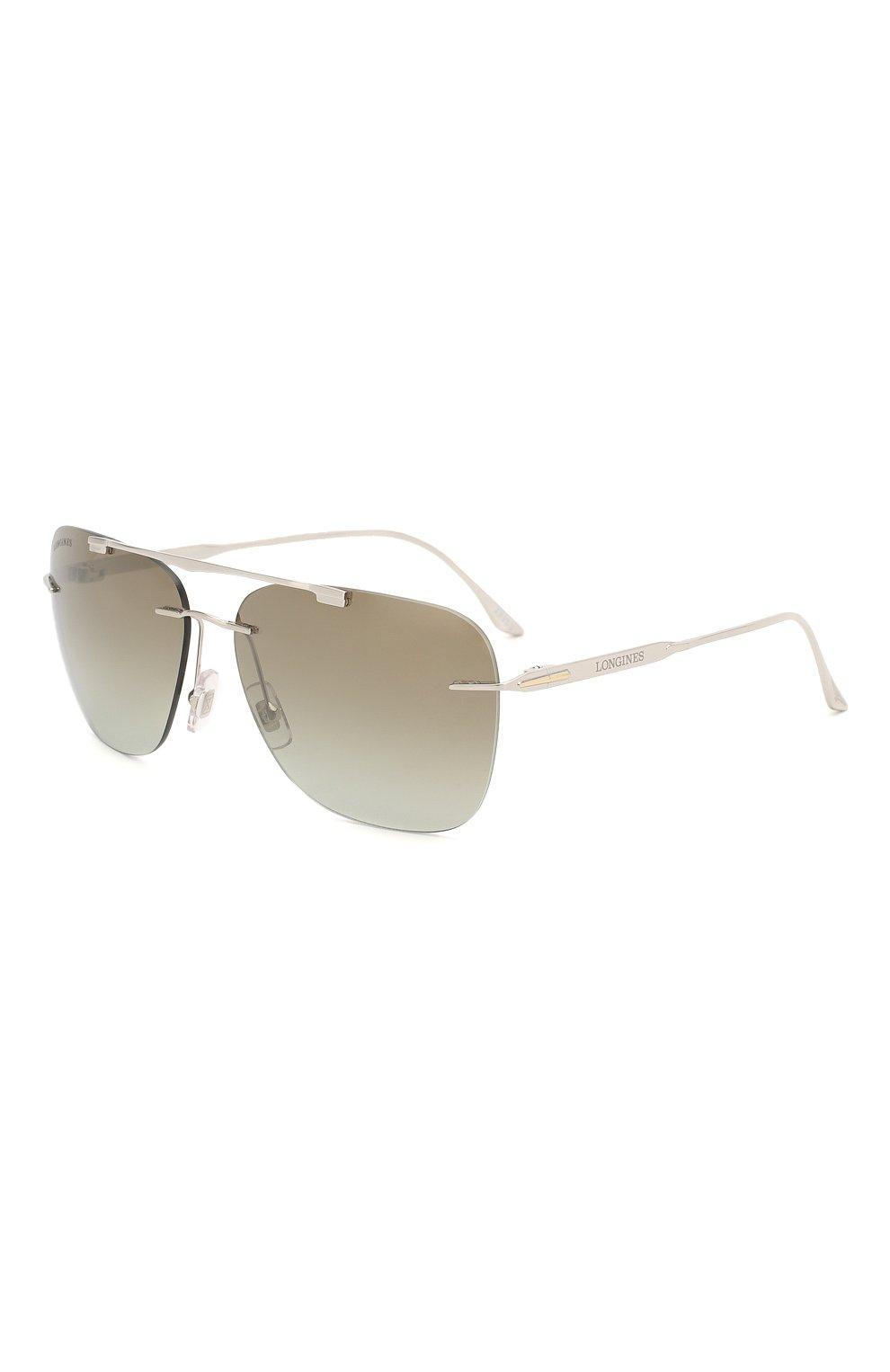 Мужские солнцезащитные очки LONGINES серебряного цвета, арт. LG0009-H 16P | Фото 1 (Тип очков: С/з; Очки форма: Прямоугольные; Оптика Гендер: оптика-мужское)
