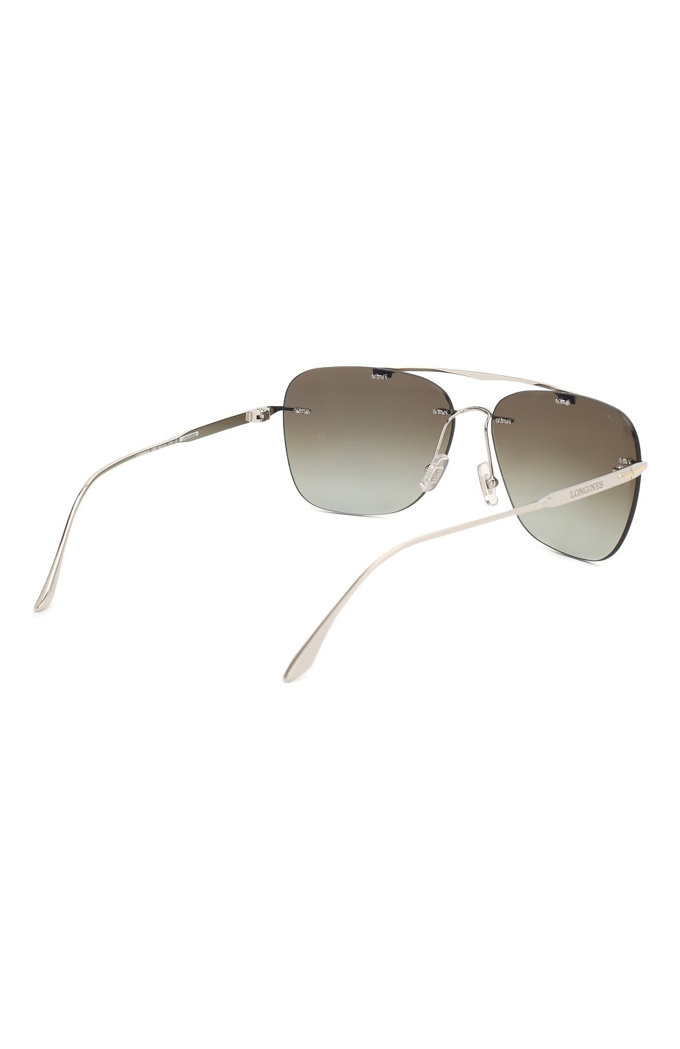 Мужские солнцезащитные очки LONGINES серебряного цвета, арт. LG0009-H 16P | Фото 3 (Тип очков: С/з; Очки форма: Прямоугольные; Оптика Гендер: оптика-мужское)
