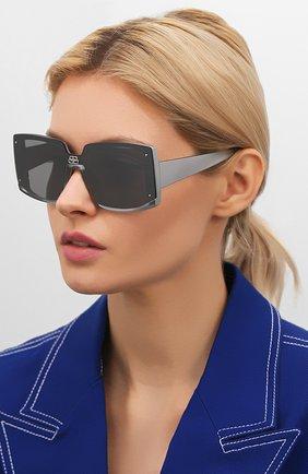 Мужские солнцезащитные очки BALENCIAGA серого цвета, арт. BB0081S 002 | Фото 2