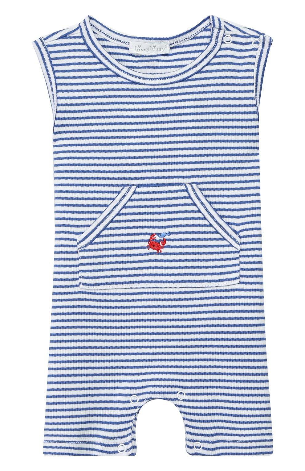 Детское хлопковый комбинезон KISSY KISSY голубого цвета, арт. KBR03565I | Фото 1