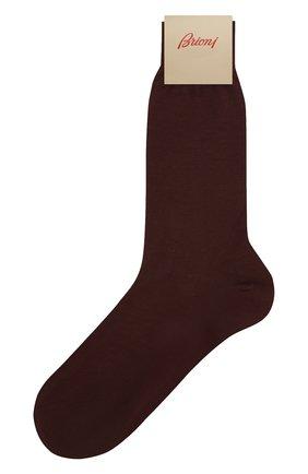 Мужские хлопковые носки BRIONI темно-коричневого цвета, арт. 0VMC/P3Z19 | Фото 1 (Материал внешний: Хлопок; Кросс-КТ: бельё)