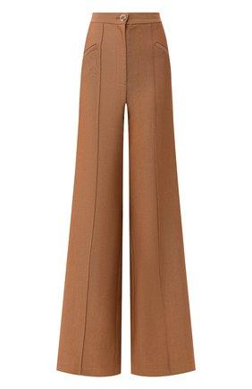 Женские брюки из смеси шерсти и шелка BRANDON MAXWELL коричневого цвета, арт. PT158SS20 | Фото 1