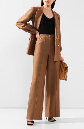 Женские брюки из смеси шерсти и шелка BRANDON MAXWELL коричневого цвета, арт. PT158SS20 | Фото 2