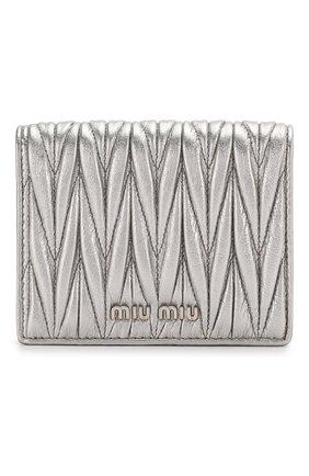 Женские кожаное портмоне MIU MIU серебряного цвета, арт. 5MV204-N88-F0135 | Фото 1