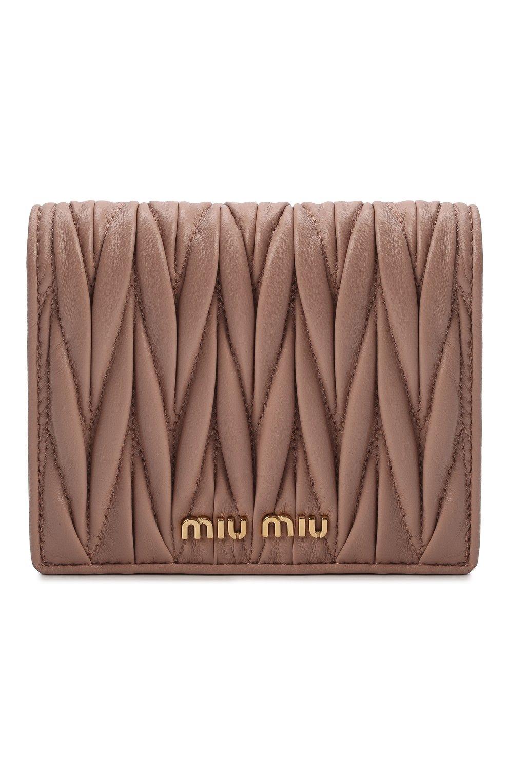 Женские кожаное портмоне MIU MIU бежевого цвета, арт. 5MV204-N88-F0770   Фото 1