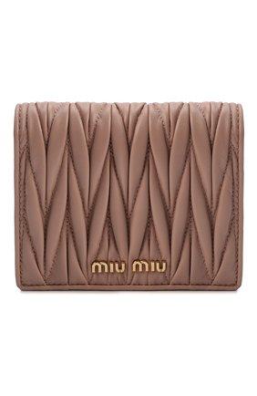 Женские кожаное портмоне MIU MIU бежевого цвета, арт. 5MV204-N88-F0770 | Фото 1