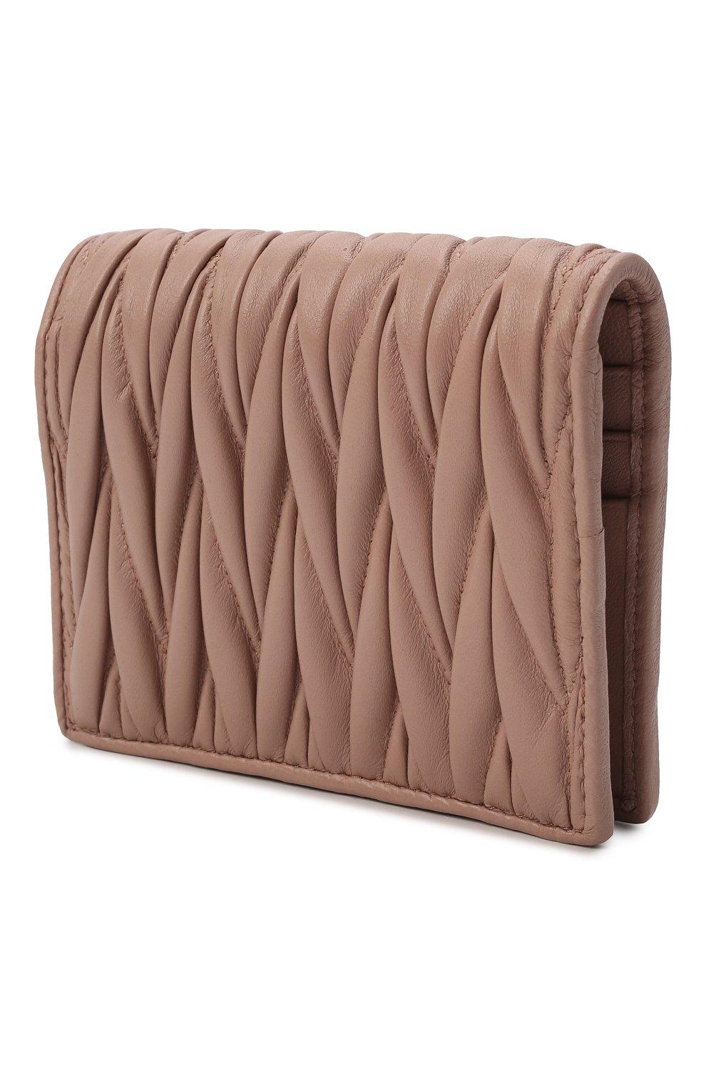 Женские кожаное портмоне MIU MIU бежевого цвета, арт. 5MV204-N88-F0770   Фото 2