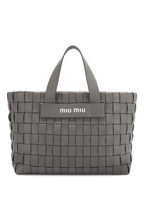 Женская сумка-шопер MIU MIU серого цвета, арт. 5BA168-2D8K-F0K44-OIO | Фото 1