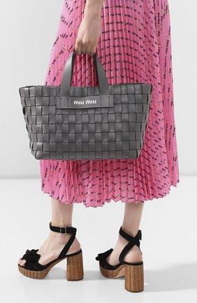 Женская сумка-шопер MIU MIU серого цвета, арт. 5BA168-2D8K-F0K44-OIO | Фото 2