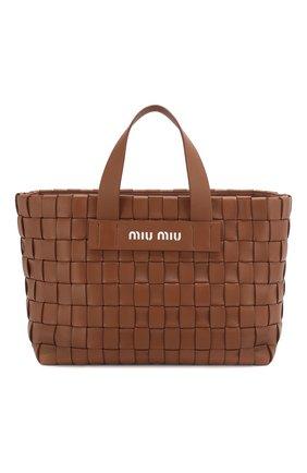 Женская сумка-шопер MIU MIU коричневого цвета, арт. 5BA168-2D8K-F0046-OIO | Фото 1