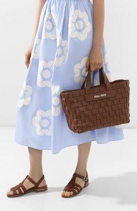 Женская сумка-шопер MIU MIU коричневого цвета, арт. 5BA168-2D8K-F0046-OIO | Фото 2
