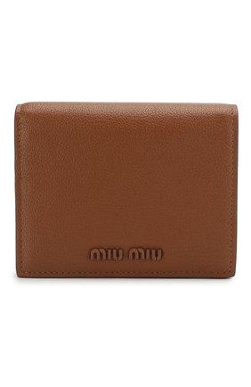 Женские кожаное портмоне MIU MIU темно-бежевого цвета, арт. 5MV204-34-F0134 | Фото 1