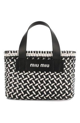 Женская сумка-шопер MIU MIU черно-белого цвета, арт. 5BA077-2D3N-F0967-OIO | Фото 1