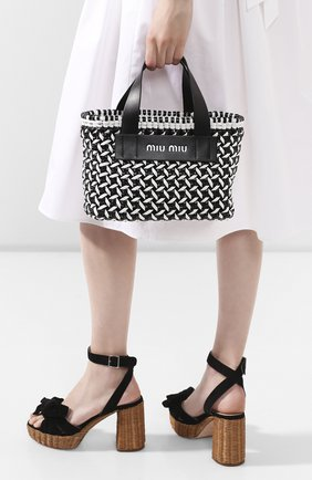 Женская сумка-шопер MIU MIU черно-белого цвета, арт. 5BA077-2D3N-F0967-OIO | Фото 2