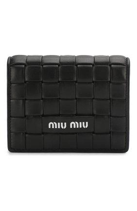 Женские кожаное портмоне MIU MIU черного цвета, арт. 5MV204-2D8K-F0002 | Фото 1