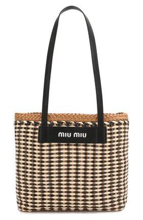 Женская сумка-шопер MIU MIU разноцветного цвета, арт. 5BG193-2BU1-F0Z40-OI3 | Фото 1