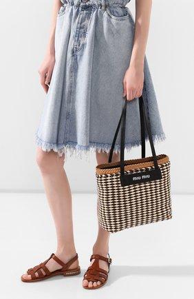 Женская сумка-шопер MIU MIU разноцветного цвета, арт. 5BG193-2BU1-F0Z40-OI3 | Фото 2