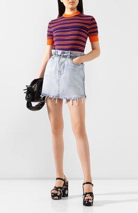 Женская джинсовая юбка MIU MIU голубого цвета, арт. GWD185-1SXP-F0013 | Фото 2