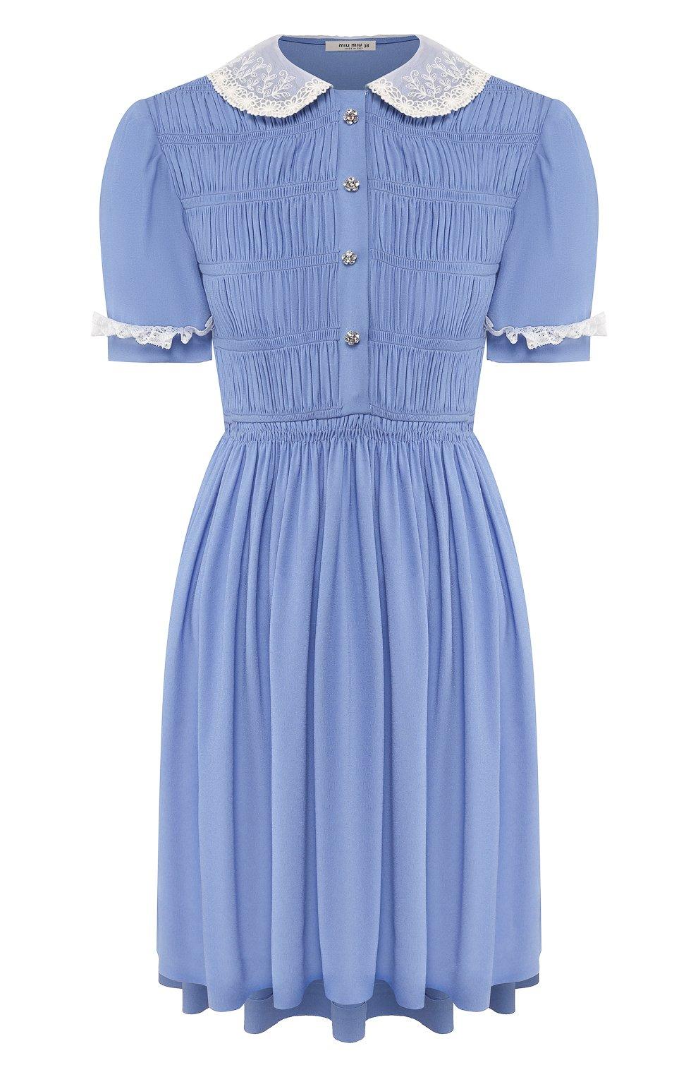 Женское платье из вискозы MIU MIU синего цвета, арт. MF3585-92U-F0237   Фото 1