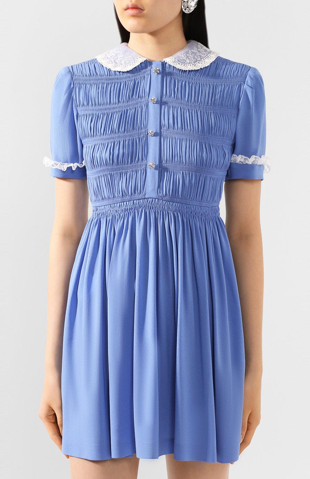 Женское платье из вискозы MIU MIU синего цвета, арт. MF3585-92U-F0237   Фото 3