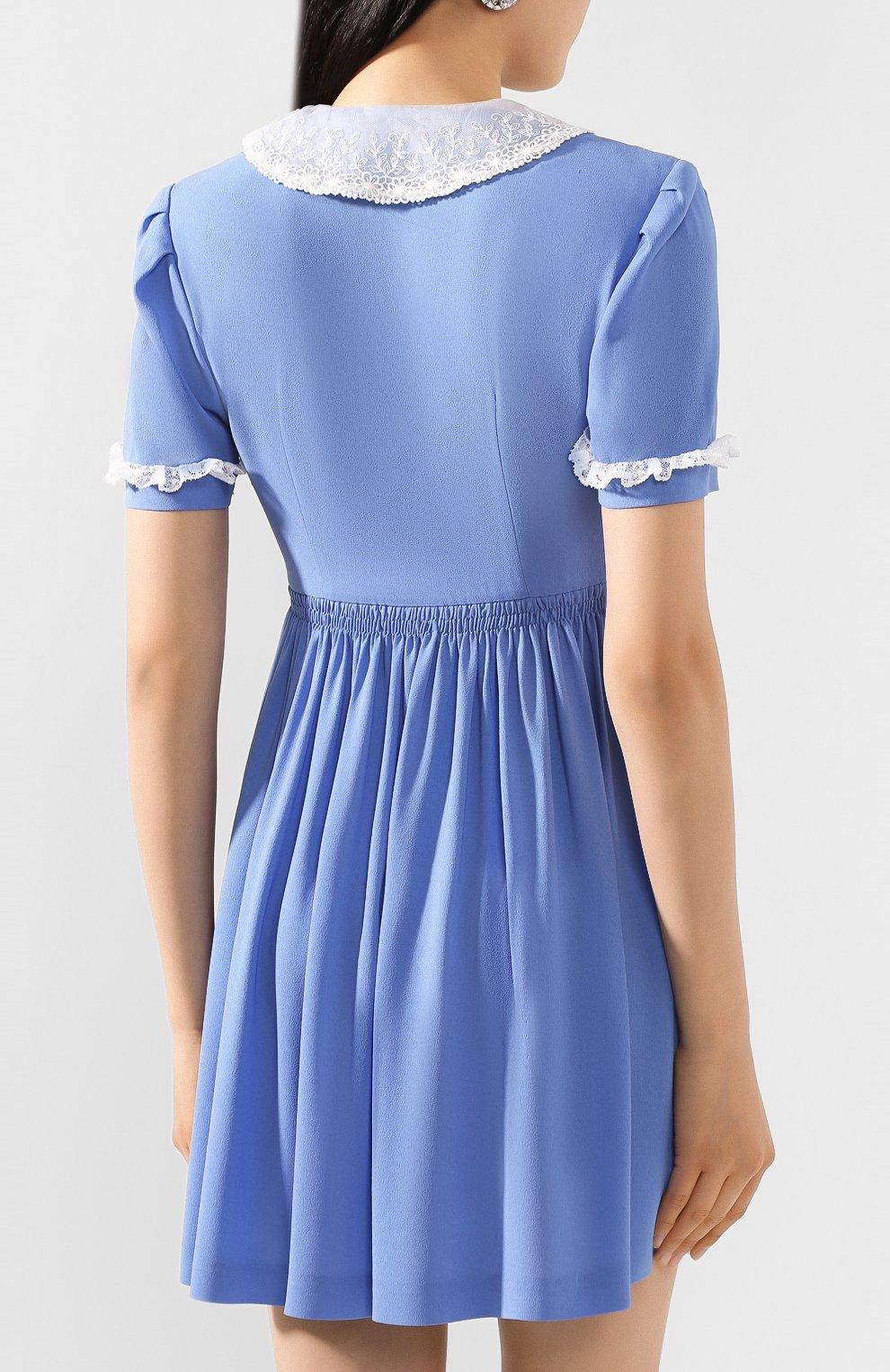 Женское платье из вискозы MIU MIU синего цвета, арт. MF3585-92U-F0237   Фото 4