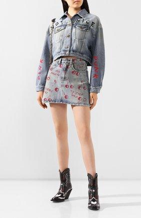 Женская джинсовая куртка MIU MIU синего цвета, арт. GWB071-1WBD-F0013 | Фото 2