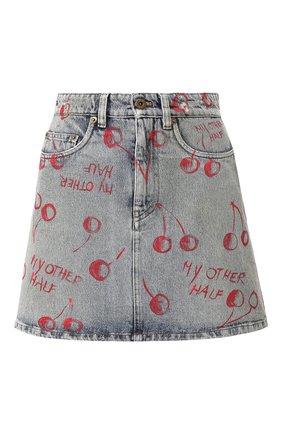 Женская джинсовая юбка MIU MIU синего цвета, арт. GWD199-1WBD-F0013 | Фото 1