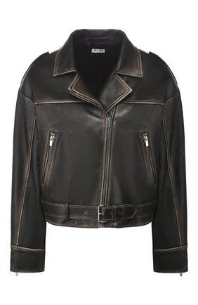 Женская кожаная куртка MIU MIU черного цвета, арт. MPV712-1RU0-F0002 | Фото 1