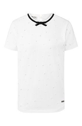 Женская хлопковая футболка MIU MIU белого цвета, арт. MJN174-1V0F-F0009 | Фото 1