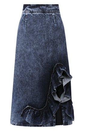 Женская джинсовая юбка MIU MIU синего цвета, арт. GWD211-1SCI-F0008 | Фото 1