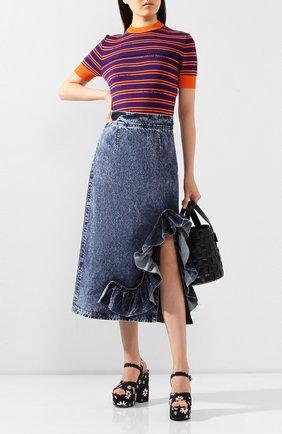 Женская джинсовая юбка MIU MIU синего цвета, арт. GWD211-1SCI-F0008 | Фото 2