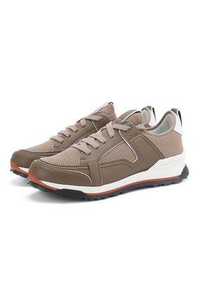 Мужские комбинированные кроссовки ERMENEGILDO ZEGNA бежевого цвета, арт. A4402X-LHNAF | Фото 1