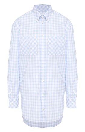 Женская хлопковая рубашка BURBERRY голубого цвета, арт. 4564553 | Фото 1