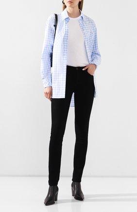Женская хлопковая рубашка BURBERRY голубого цвета, арт. 4564553 | Фото 2