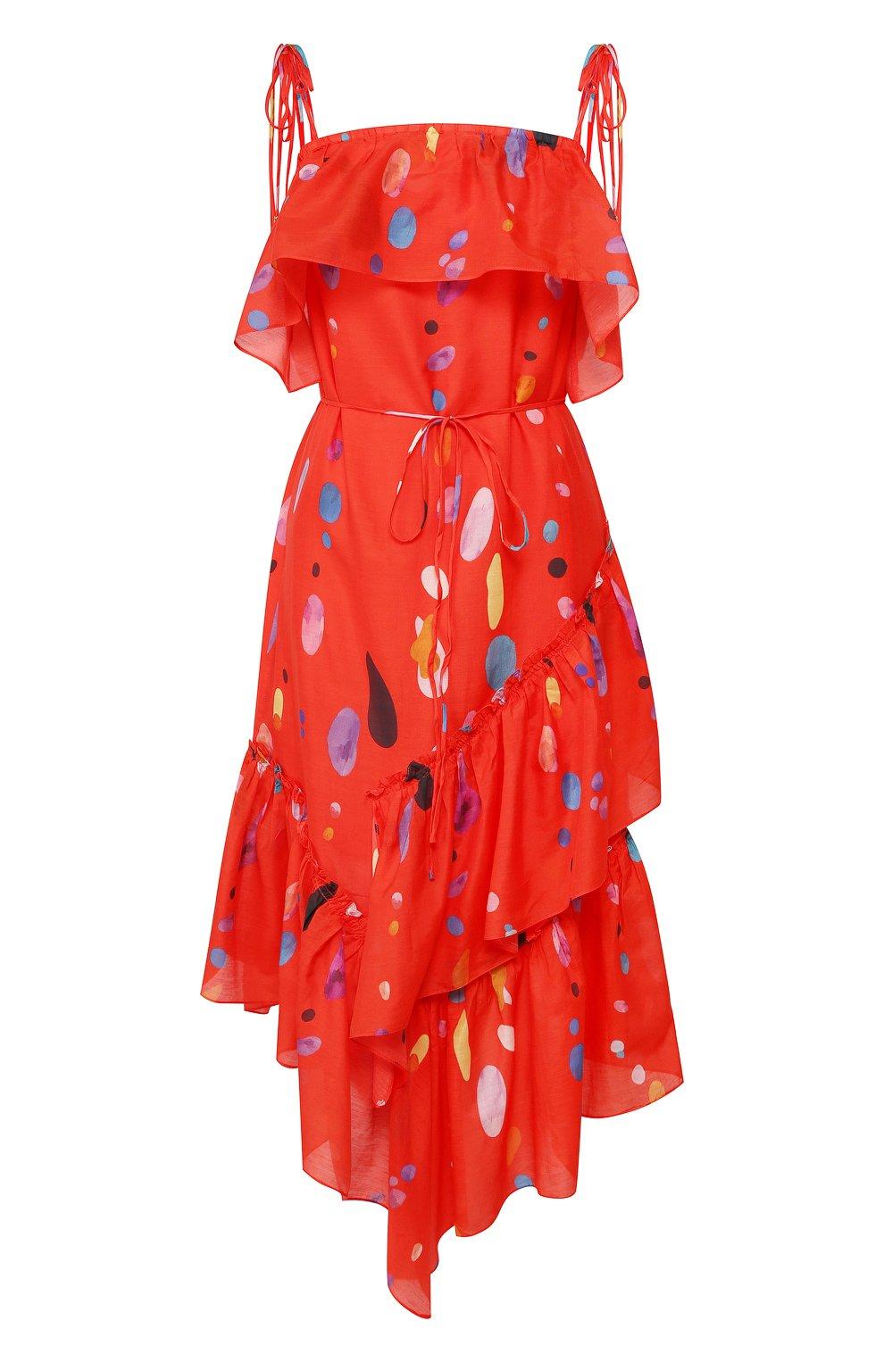 Женское платье из смеси хлопка и шелка LILY FRANCO красного цвета, арт. 00045 | Фото 1