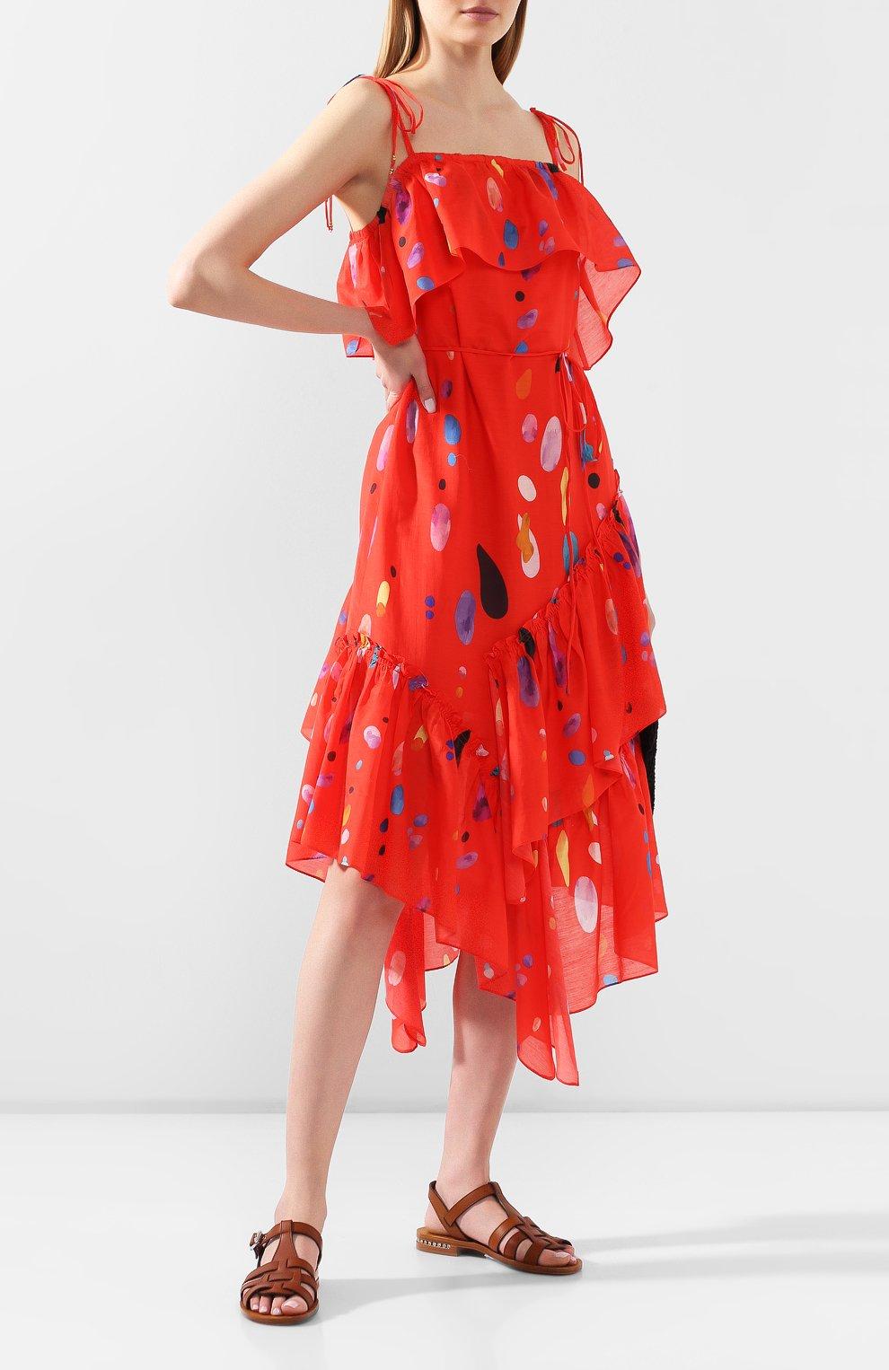 Женское платье из смеси хлопка и шелка LILY FRANCO красного цвета, арт. 00045 | Фото 2