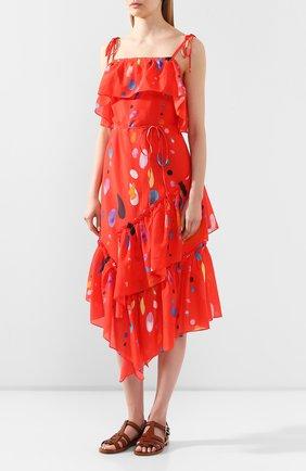 Женское платье из смеси хлопка и шелка LILY FRANCO красного цвета, арт. 00045 | Фото 3