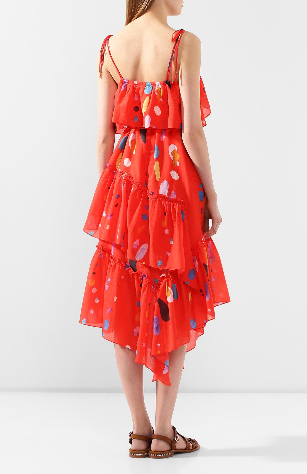Женское платье из смеси хлопка и шелка LILY FRANCO красного цвета, арт. 00045 | Фото 4