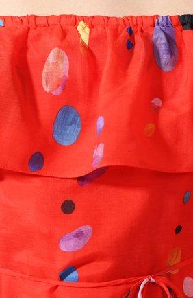 Женское платье из смеси хлопка и шелка LILY FRANCO красного цвета, арт. 00045 | Фото 5