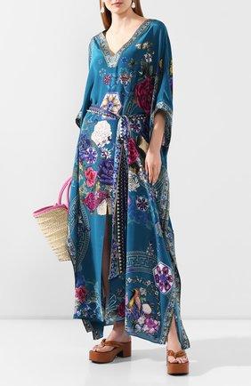 Женское шелковая туника CAMILLA голубого цвета, арт. 3635 | Фото 2