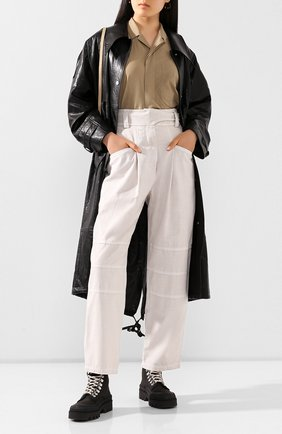 Женские хлопковые брюки LOW CLASSIC бежевого цвета, арт. L0W20SS_PT11BE | Фото 2