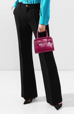 Женская сумка rl50 mini из кожи аллигатора RALPH LAUREN фуксия цвета, арт. 435769101/AMIS | Фото 2