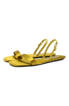Женские текстильные сандалии ryder ALEXANDER WANG желтого цвета, арт. 30C120B060   Фото 1