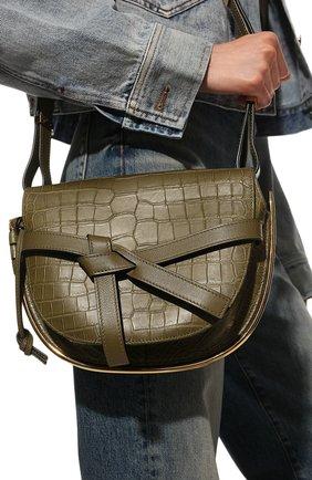 Женская сумка gate из кожи крокодила LOEWE темно-зеленого цвета, арт. 329.25AT20/CP0R | Фото 2