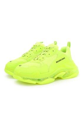 Мужские комбинированные кроссовки triple s clear sole BALENCIAGA желтого цвета, арт. 541624/W2FF1 | Фото 1